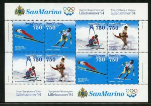 SAN  MARINO  LILLIHAMMER OLYMPICS 1994SHEET OF EIGHT MINT NEVER HINGED