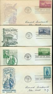 National Capital Sesquicentennial Series 989-992 Set of 4 Fidelity FDC Singles