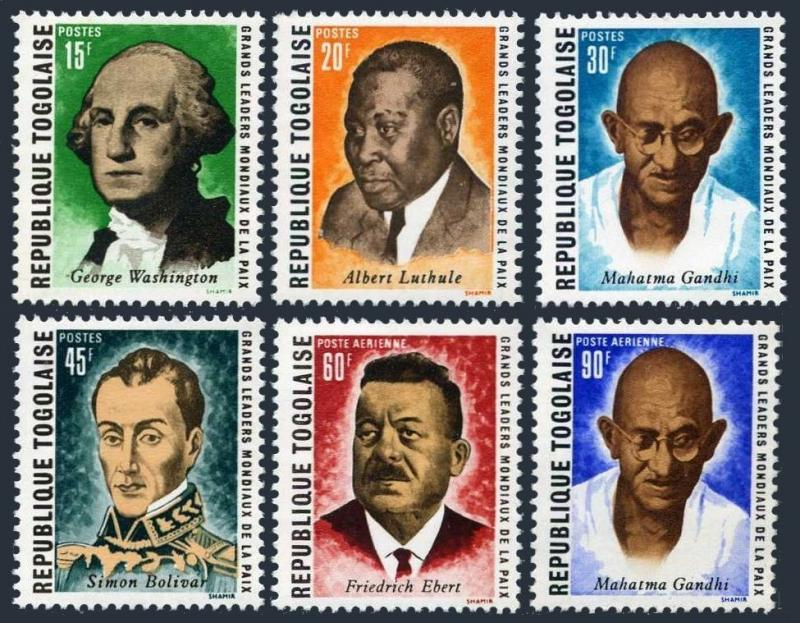 Togo 713-716,C122-C123,MNH.Mi 756-761. Leaders of the world peace,1969.Gandhi.