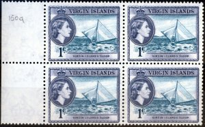 Virgin Islands 1962 1c Turq & Slate-Violet SG150a V.F MNH Block of 4