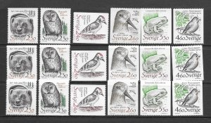 Sweden 1723-8 MNH Bird set cpl x 3, vf see desc. 2019 CV$24.75
