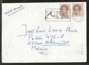 J) 1988 NETHERLAND, QUEEN BEATRIX, WITH SLOGAN CANCELLATION, AIRMAIL, CIRCULATED