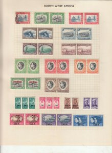 SOUTH WEST AFRICA 2 ALBUM PAGE  VALUES MOSTLY 1937-55, MOUNTED MINT