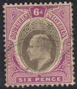 SOUTHERN NIGERIA SG27 1905 6d GREY-BLACK & BRIGHT PURPLE FINE USED