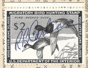 Doyle's_Stamps: Signed, Used #RW21 Federal Duck Stamp of 1954 on License