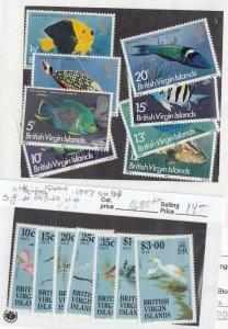 BR. VIRGIN ISLANDS(SP83)# 284a-294a,494a-507a VF-MNH FISH-1977/BIRDS-1987 CV $45