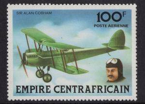 Central African Republic  #C197  Empire 1977 MNH aviation history  100fr