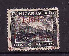 Nicaragua-Sc#135- id5-used cinco pesos-overprinted 1901-MT Momotomba-