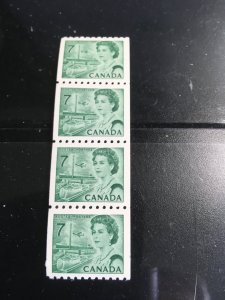Canada #549 Mint Strip of Four VF-NH Cat. $2. 1971 7c QE Green Coil Trains-Tower