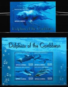 Antigua & Barbuda - ANIMALS - DOLPFINS - Set +S.S. - MNH