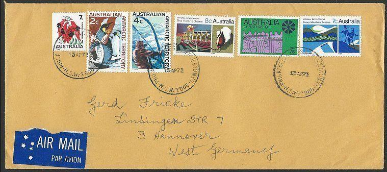 AUSTRALIA 1972 Airmail cover to Germany - nice franking....................53442