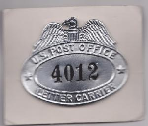 Vintage Eagle Top Letter Carrier Badge with clasps