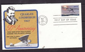 USA-Sc#1710-13c Lindbergh on First Spectrum Cachet-FDC-50th Anniversary-1977-