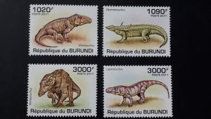 Burundi 2011. - Prehistoric crocodiles ** MNH complete set (perforated)