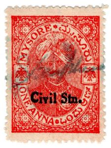 (I.B) India (Princely States) Revenue : Mysore State Duty 1a (Civil Station OP)