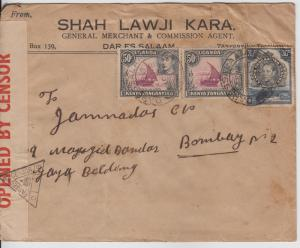 K.U.T.  1942  Daressalam  Cover To India Censored  2 Scans  62180