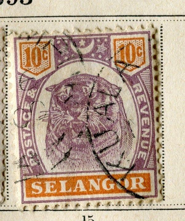MALAYA SELANGOR;  1895 early classic Tiger issue fine used 10c. value