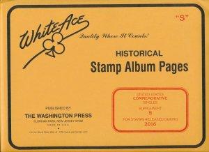 WHITE ACE 2016 US Commemorative Singles Stamp Album Supplement S