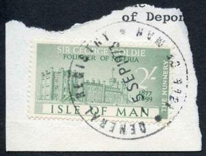 Isle of Man 2/- Green QEII Pictorial Revenue CDS On Piece