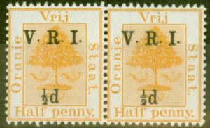 Orange Free State 1900 1/2d on 1/2d Orange SG112f Small 1/2 Pair with Normal.