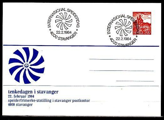 Norway, 1984 cancel. Stavanger Scout Group on Postal Card. First day cancel.