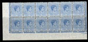 BAHAMAS SG154a 1943 3d BLUE MNH BLOCK OF 12