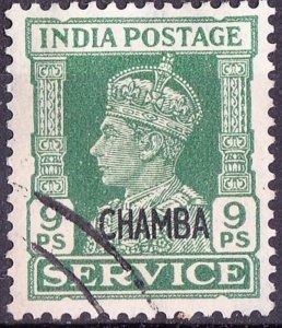 INDIA CHAMBA 1940 KGVI 9pie  Green Service SGO75 VFU