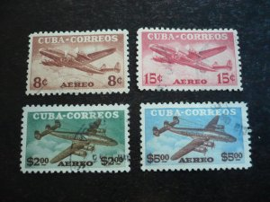 Stamps - Cuba - Scott#C75-C78 - Used Set of 4 Air Mail Stamps