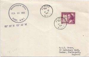 Canada 5c Health 1963 Alert, N.W.T. to Cosham, England with Meteorological Of...