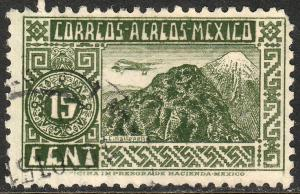 MEXICO C135, 15c 1934 Definitive. ORIZABA VOLCANO. USED. F-VF. (1067)
