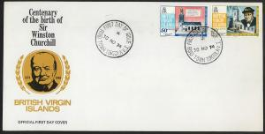 BRITISH VIRGIN ISLANDS Sc#278-279 1974 Winston Churchill FDC