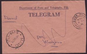 FIJI 1971 Telegram reused with economy label Suva MOO. & Waidamu pmks.....5803