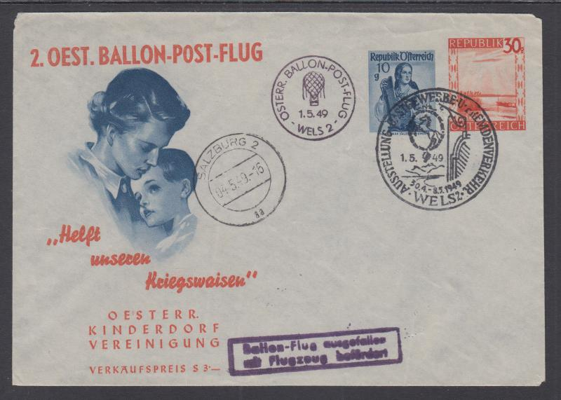 Austria H&G BX163 used 1949 10g + 30g Printed to Private Order Envelope