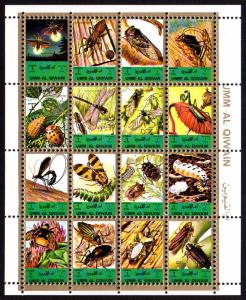 Umm Al Qiwain Mi #1354-1369 sheet/16 mnh - 1972 insects - small format sheet