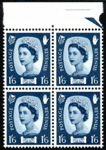 1969 Northern Ireland Sg NI11 1s6d grey-blue Margin Block of 4 Unmounted Mint