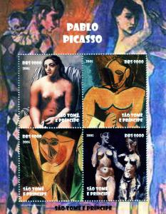 Sao Tome & Principe 2005 PABLO PICASSO Nudes Paintings Sheet Perforated Mint (NH