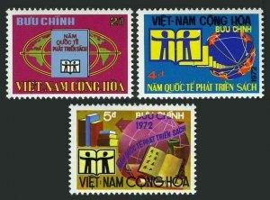 Viet Nam South 441-443, MNH. Michel 519-521. Intl Book Year IBY-1972. Globe.