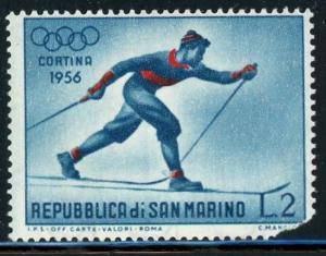 San Marino #365 Skier 2 l brt blue & red 1955 MH 1956 Olympics tear on stamp