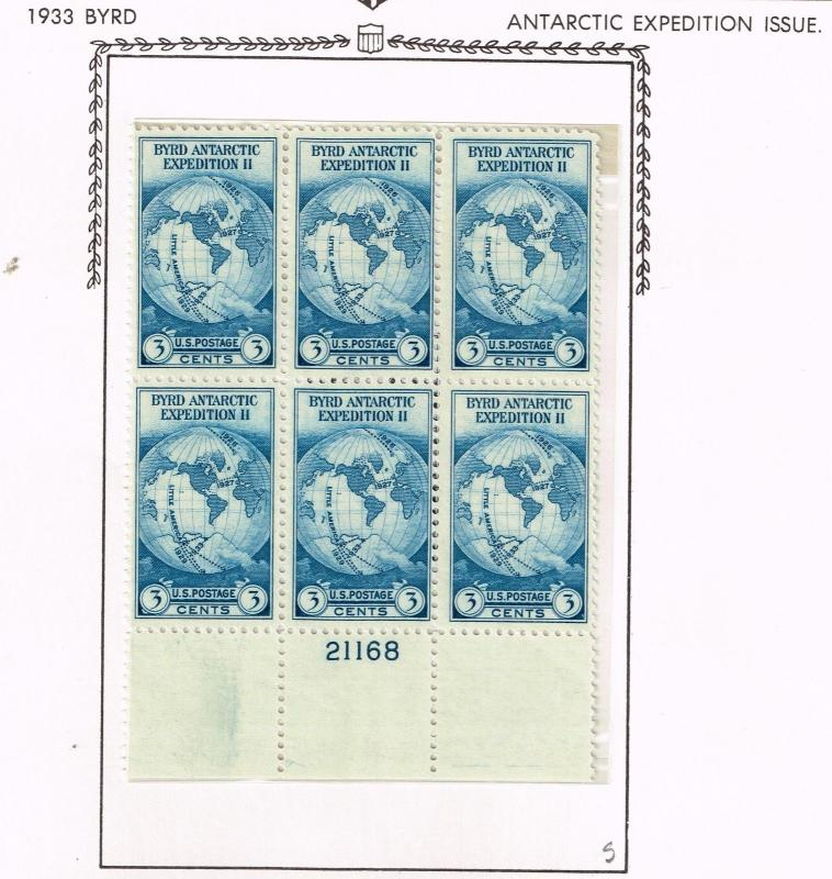 USA 733  Byrd Antarctic Issue - Plate Block - MNH(OG) - Well Centered CV$22.50