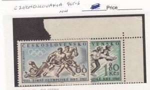 J26097  jlstamps 1960 czechoslovakia set mnh #965-6 sports 1 signed ,all checked