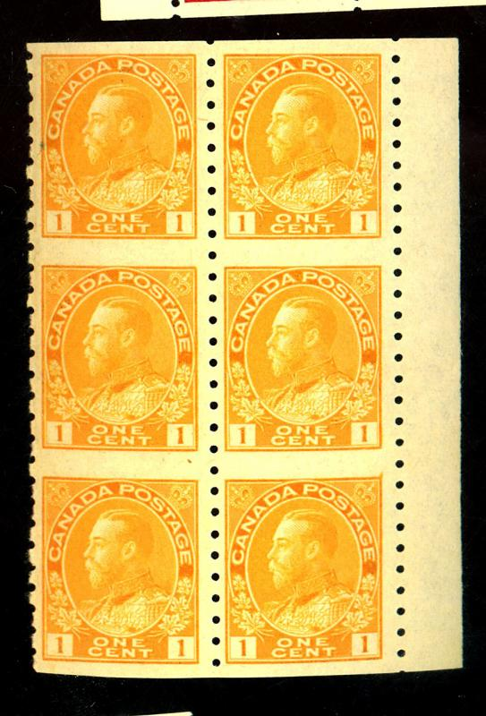 Canada #126a MINT Block of 6 Imperf In Between F-VF OG NH