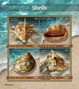 Liberia Seashells Stamps 2020 MNH Sea Shells Spondylus Turbo Marine 4v M/S