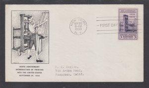 US Planty 857-39 FDC. 1939 3c Printing Press, Crockett cachet, addressed, VF