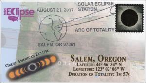 17-256, 2017, Total Solar Eclipse, Salem, OR, Event Cover, Pictorial Cancel,