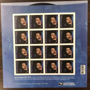 5059   Sarah Vaughan  Music Icon   MNH Forever sheet of 16.   FV $8.80   In 2016