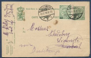 LUXEMBOURG: 1918 Uprated Postal Card from Diekirch
