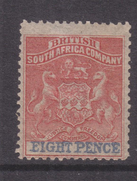 RHODESIA, 1892 8d. Red & Ultramarine, lhm.