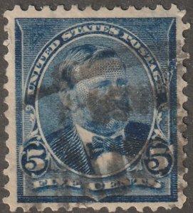 USA Stamp, Scott# 281, used, hinged, 5 cent, Grant, dark blue, all perfs,  #X-57