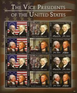 Liberia 2018 MNH Vice Presidents of USA Jefferson Washington 12v M/S I Stamps