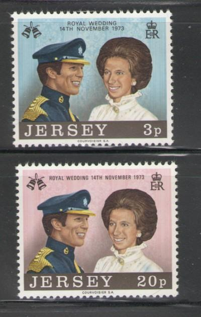 Jersey Sc 89-0 1973 Royal Wedding Pr Anne stamps NH